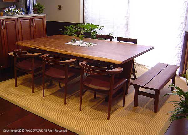 アメリカンブラックウォールナット接ぎ天板、ダイニングテーブル、ご納品の様子です