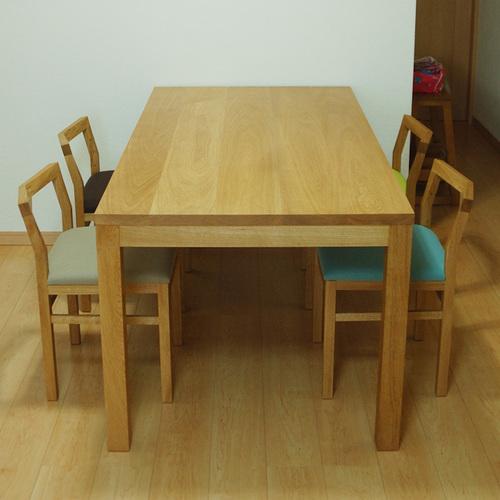木口側から見たスタンダードテーブル・タイプ2とそれぞれシートカラーが異なるピコチェアの様子