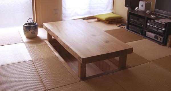 楡一枚板天板のローテーブルを、既存の掘りごたつに合わせて製作させていただきました