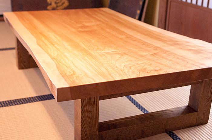 カバ一枚板天板ローテーブル