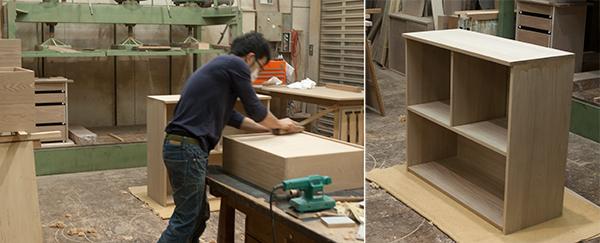 無垢オーダー家具/TANAチェスト工房での製作作業の様子