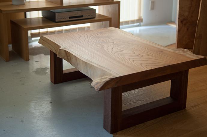 無垢天板|ケヤキの一枚板ローテーブルバージョン