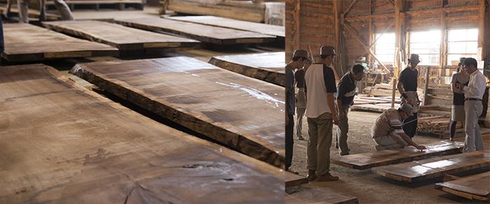 無垢天板|旭川での買い付け、チェックシーン