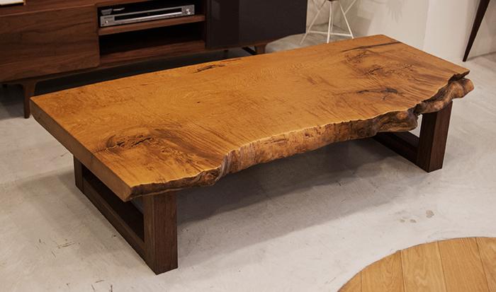 無垢天板|クリの一枚板ローテーブル