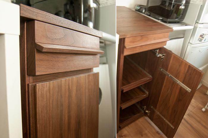 ウォールナット無垢材で製作しオイルで仕上げた質感を感じる引き出しと扉の様子です