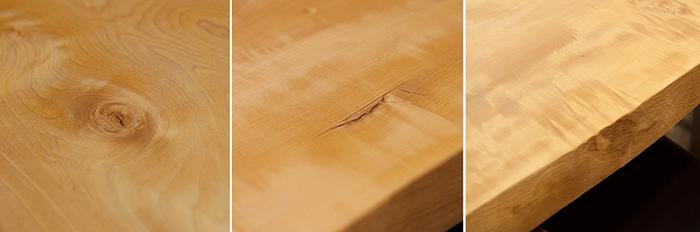 トチ一枚板天板に入った節や入り皮の様子です