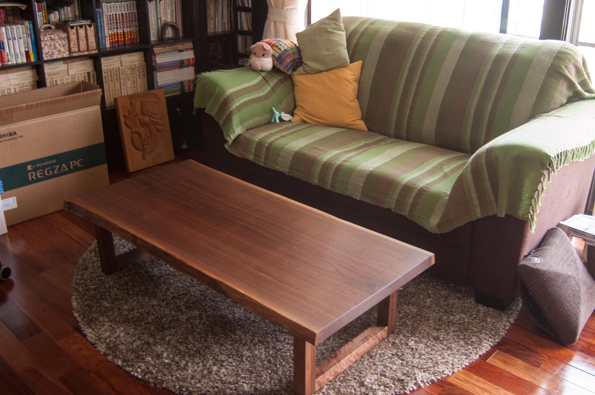 ウォールナット一枚板天板 ローテーブル
