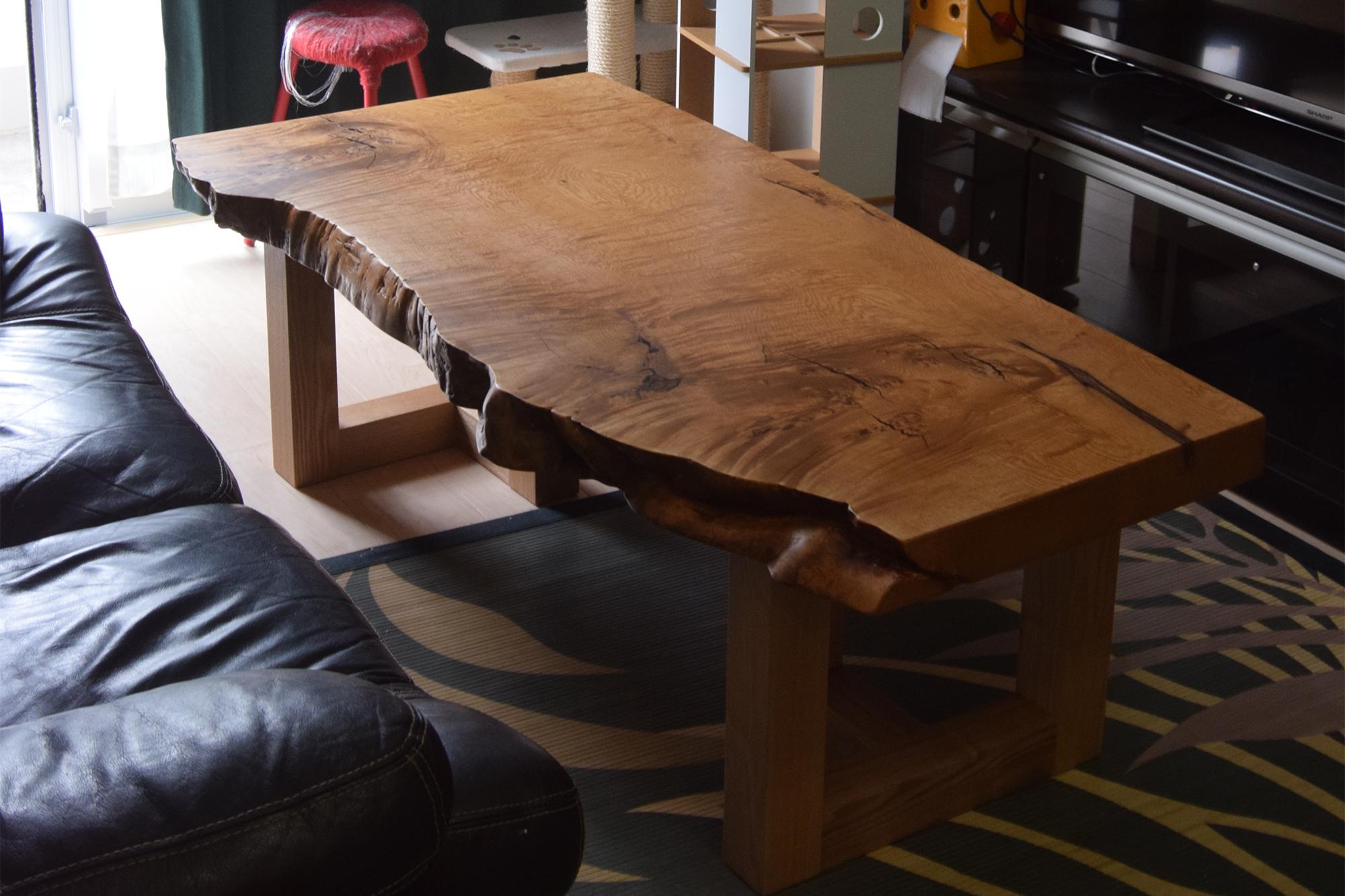 クリ一枚板天板ローテーブル