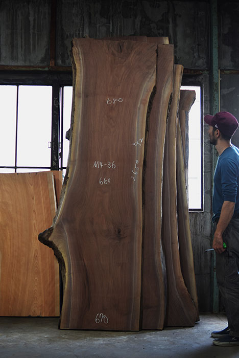 アメリカンブラックウォールナット三枚接ぎ天板