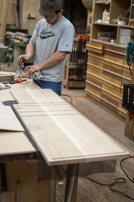 木製食器棚 製作中の様子