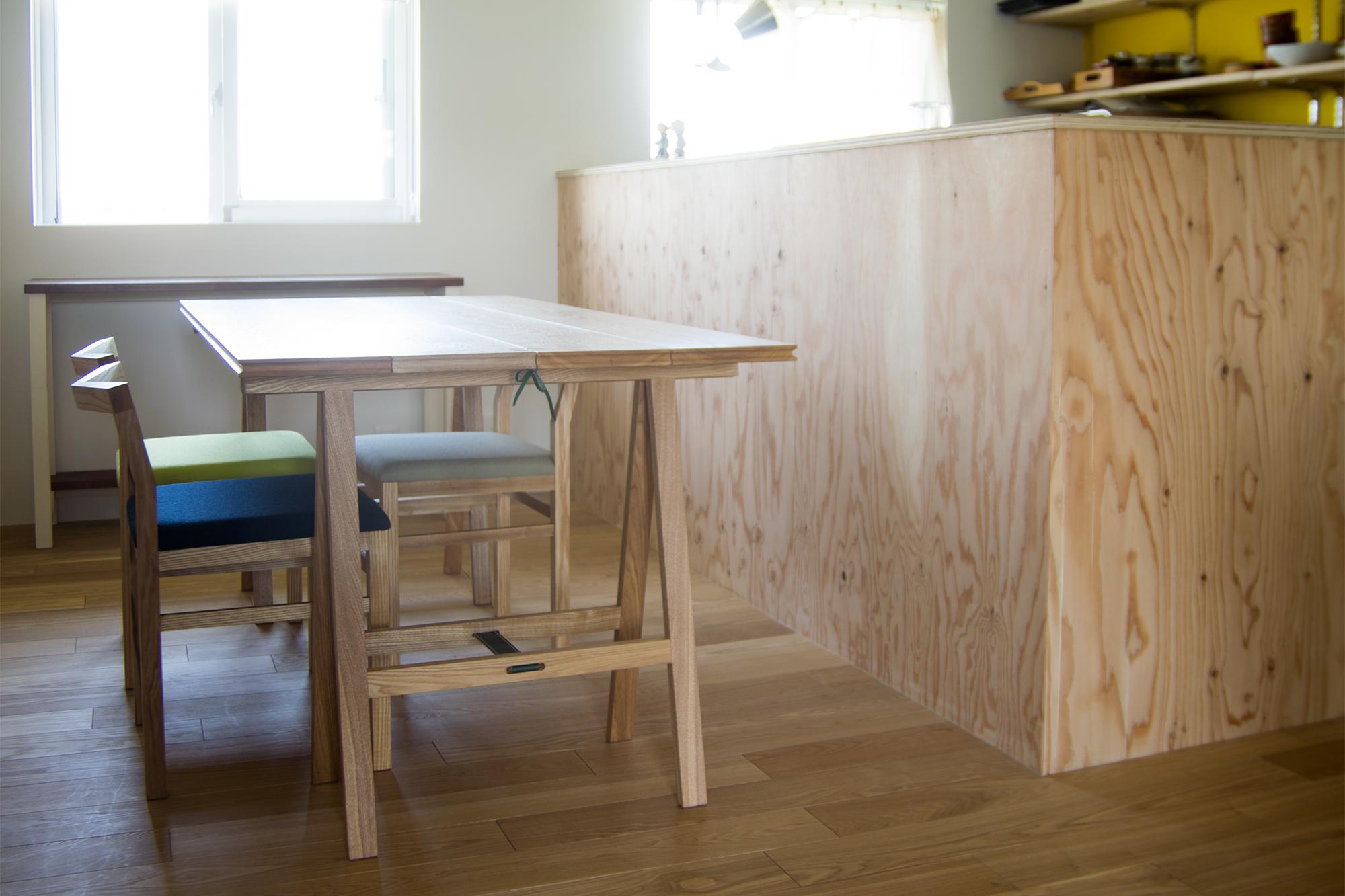折りたたみテーブル 無垢