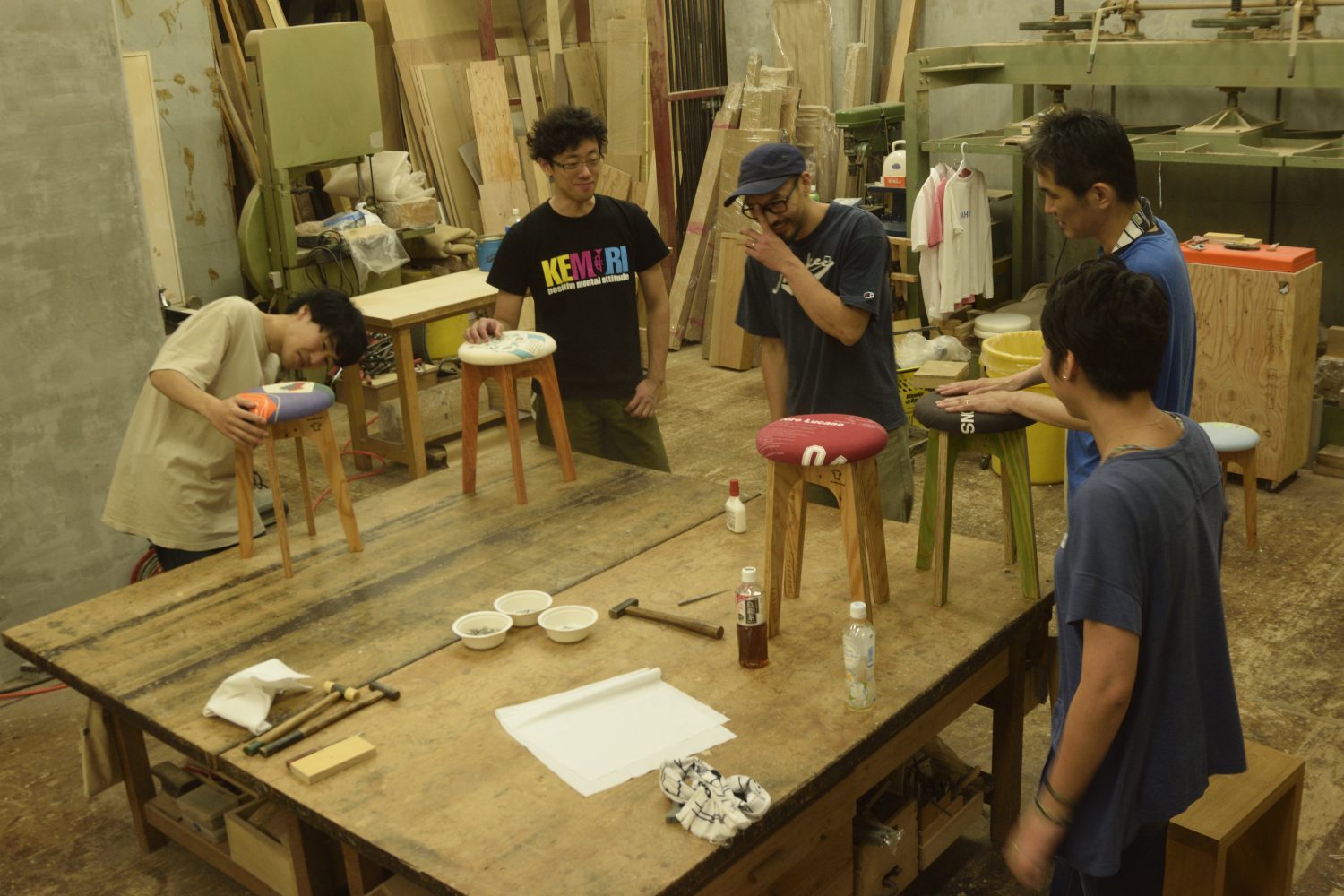 『2015年7月開催 第一回 old clothes stool workshop』