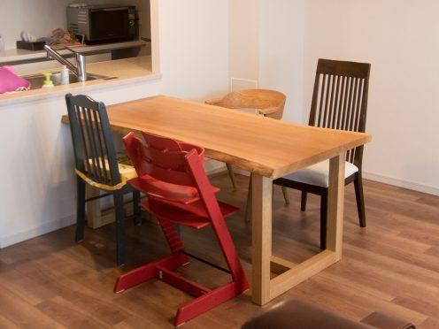 ナラ一枚板天板テーブル