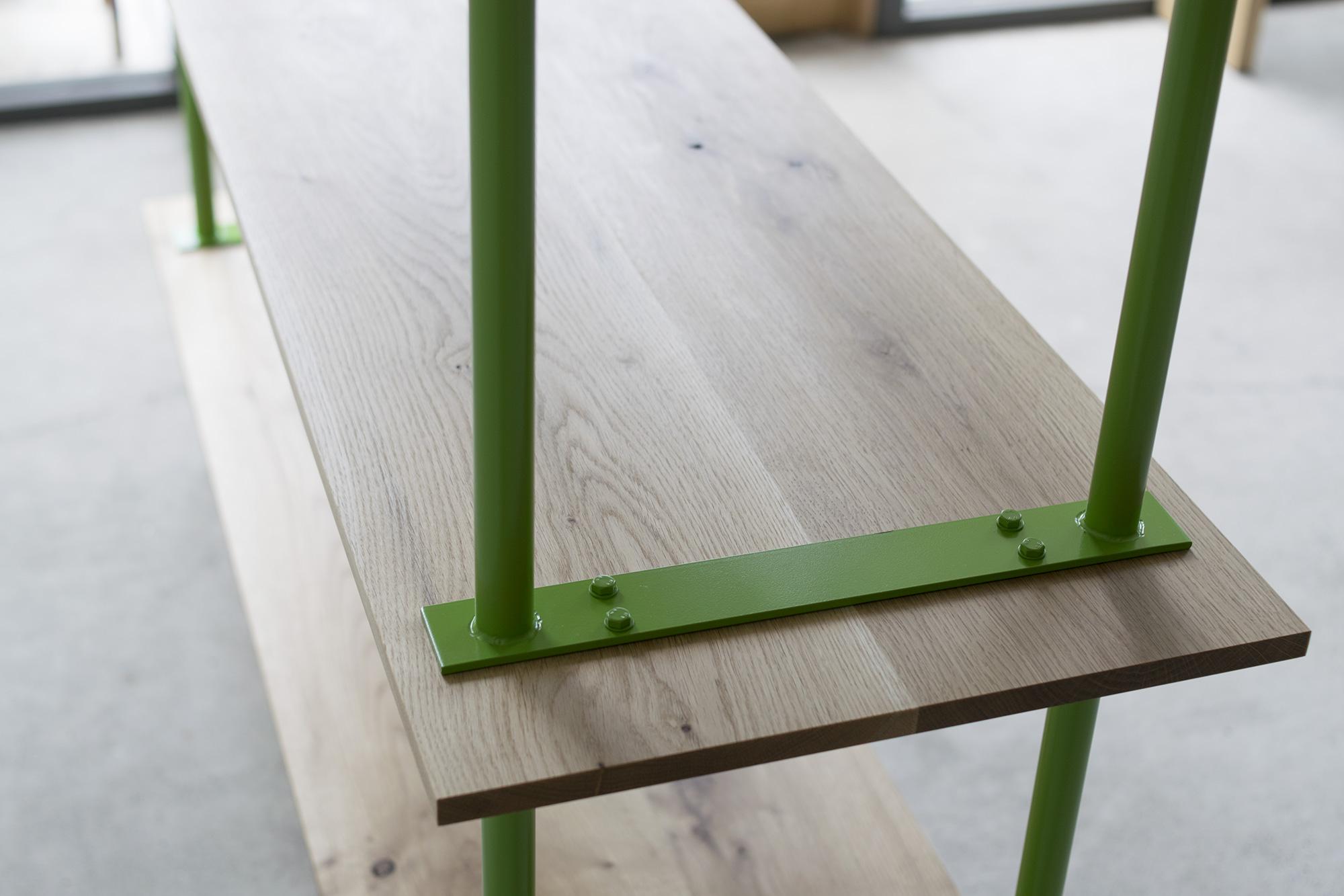 ご納品した、build rack シルエット、ナラ材節あり