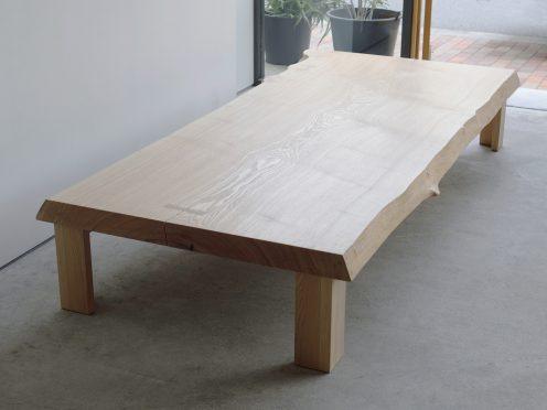 タモ一枚板天板 ローテーブル