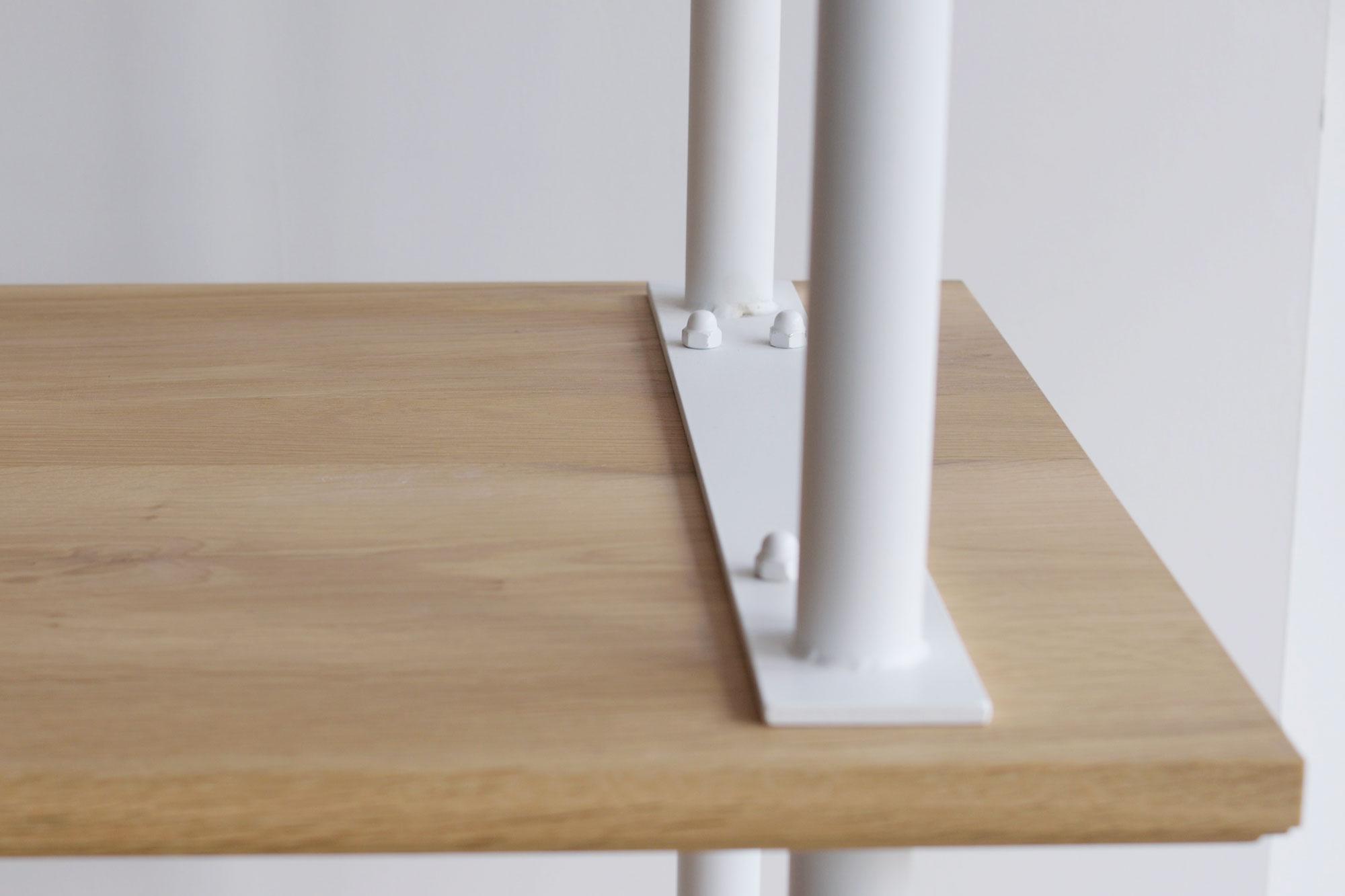 Build Rack 金属パーツ白塗装、4段タイプ、ナラ節あり材、オスモ塗装