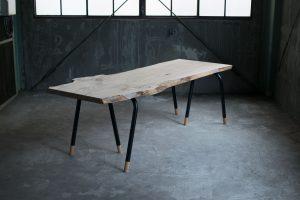 ニレ(楡)一枚板天板+スチールパイプレッグス